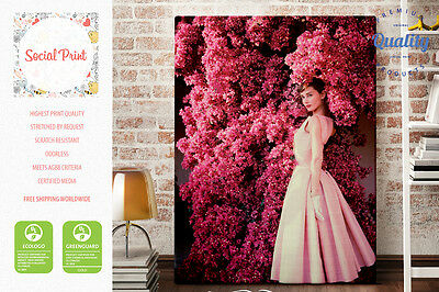 Audrey Hepburn in Rose Givenchy Dress, Style Icon, Canvas Print, Giclee fine art