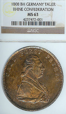 Germany Rhine Confederation 1808 Taler Coin Thaler NGC MS 63 Stempelglanz RARE