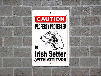 Property protected by Irish Setter dog breed with attitude metal sign #B