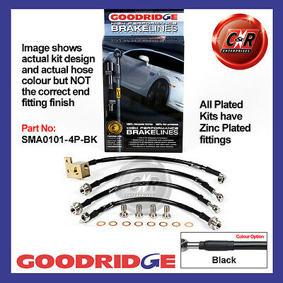 Mazda MX5 Mk2 01/01-11/05 Goodridge Plated Black Brake Hoses SMA0101-4P-BK