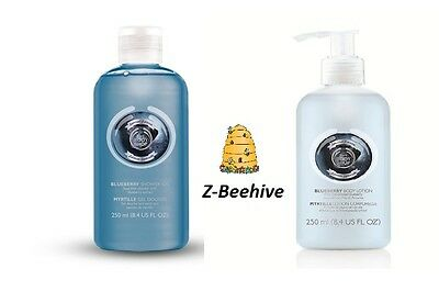 2 PC The Body Shop Blueberry Shower Gel & Blueberry Body Lotion Duo, New