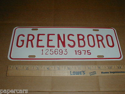 Greensboro NC Guilford County original License Plate City Tag topper 1975 new