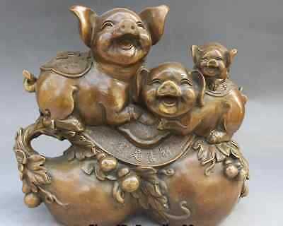 "11"" Chinese Bronze Folk Fengshui Zodiac Year 3 Fu Pig On Calabash Statue AS1093"