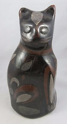 "Vintage Clay Pottery - 10"" Cat Figurine / Statue - Etched / Carved Accents"