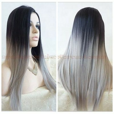 Women Fashion Lolita Black/Grey Mixed Ombre Wigs Straight Long Wig Synthetic+Cap