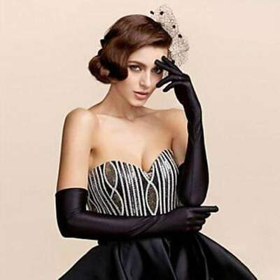 55cm Long Black Satin Evening Gloves Audrey Hepburn Opera Prom Formal Costume