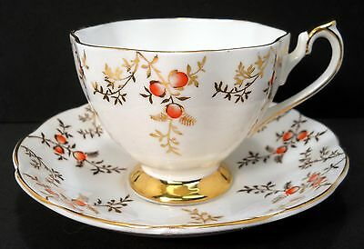 Queen Anne Bone China Footed Cup and Saucer England #5634 Red Berries