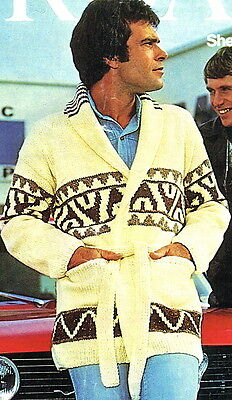 Vintage 1970s knitting pattern-How to make a Starsky and Hutch fab long jacket