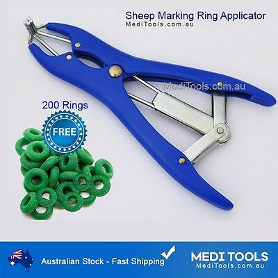 2 x Elastrator, Sheep Cattle, Castration, Ring Applicator, 200 Marking Rings