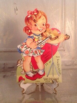 Vintage Valentines Day Litho Card Fiddle violin Girl Playing Music Moveable