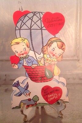 Vintage Valentines Day Litho Card Boy Girl Hot Air Balloon Flying Moveable Swell