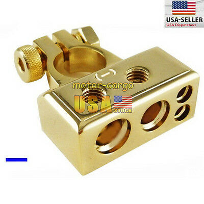 1/0 0 2 4 8 AWG Gauge CAR HD Battery Terminal Negative CONNECTOR GOLD Color