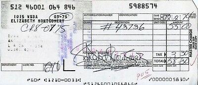 ELIZABETH MONTGOMERY: Sam in BEWITCHED: 1974 Charge Slip Autographed