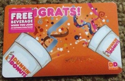 """Dunkin Donuts Coffee Gift Card """"congrats"""" New 2014 No Value"""