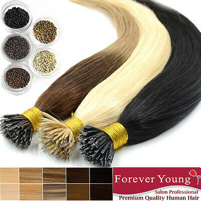 Full Head Nano Ring Remy Human Hair Extension 100 Strand 70G Hair Forever Young