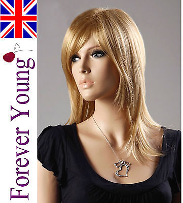 Ladies Long Blonde Wig Light Ash & French Vanilla Blonde Mix. Forever Young Wigs