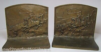Old Cowboy Horse Lasso Bull Bookends ornate high relief book ends 'solid bronze'