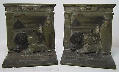 Antique 1920s Cast Iron Egyptian Bookends Pyramid Tomb Sphinx Camel ornate