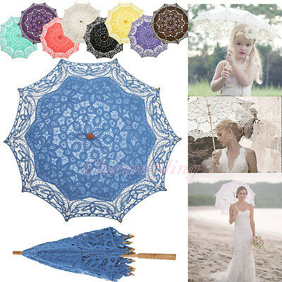 Vintage Battenburg Lace Parasol Umbrella for Wedding Bridal Party Photo Decor