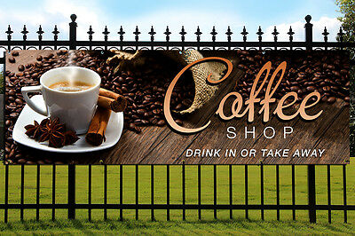 COFFEE SHOP PVC Printed Banner Outdoor/Indoor Catering Sign Cafe Eyelets