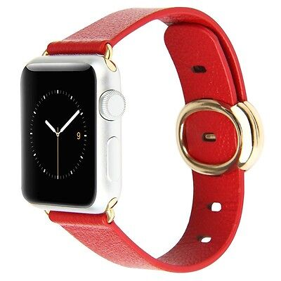 Tuff-Luv Genuine Leather Connector Strap for Apple Watch 1 / 2 - 38mm - Red
