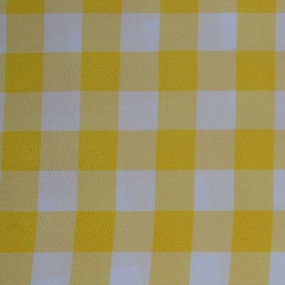 "YELLOW AND WHITE CHECKERED TABLECLOTH - 60"" x 102"" - CHECKER PATTERN TABLECLOTHS"