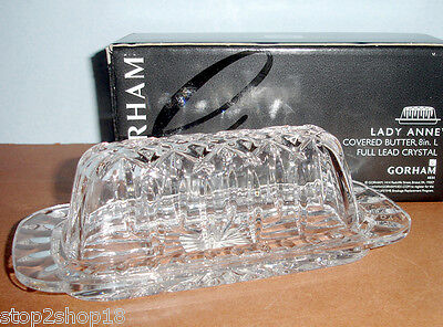 Gorham Lady Anne Covered Butter Dish Crystal 6203384 New In Box