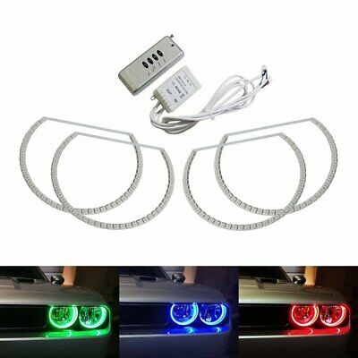 Headlight Retrofit RGB LED Angel Eye Halo Rings For 2008-2014 Dodge Challenger