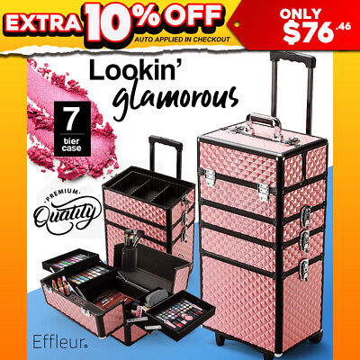 NEW 7 in 1 Portable Cosmetic Makeup Case Beauty Pink Bag Organiser Trolley