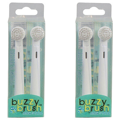 2x 2 Jack N Jill Replacement Heads Buzzy Brush Children Kids Electric Toothbrush