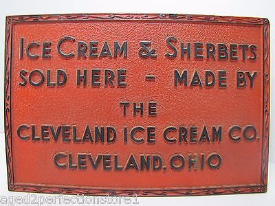 Old Cleveland Ice Cream Co Advertising Sign embossed Ice Cream & Sherberts Ohio