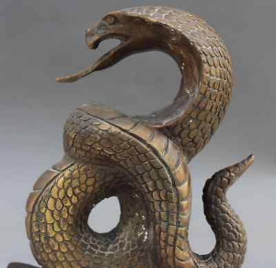 "8"" Chinese Bronze Wealth Yuanbao 5 Mammon Zodiac Year Snake Animal Dragon Statue"