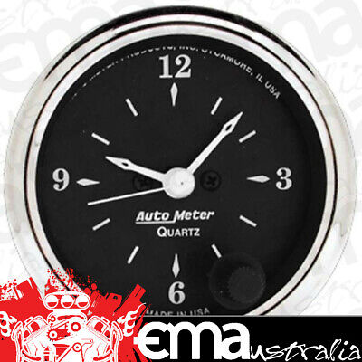 "Autometer Old Tyme Black 2-1/16"" Electric Clock Quartz Movement Au1785"