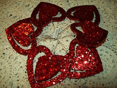 """New 2"""" Mini Double Ring Red Heart Glitter Valentine Ornaments Set Of 6 Hanging"""