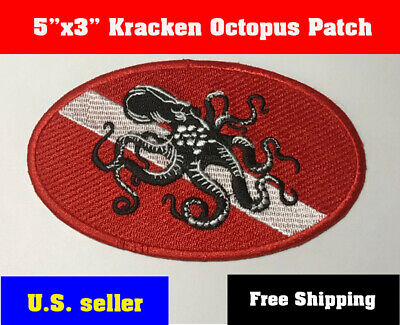 "Scuba - Diver Down Oval Patch w/ Octopus- 3.8""x2.8"" Iron On Kracken Monster New"