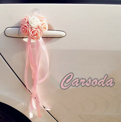 Pink Wedding Car Decoration- Heart Shape Roses Ribbon Limousine Door Side Mirror
