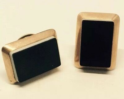 Victorian 14k Yellow Gold Men's Black And White Onyx Cuff links