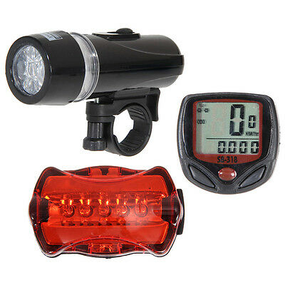LCD Bicycle Speedometer + 5 LED Mountain Bike Cycling Light Head + Rear Lamp New
