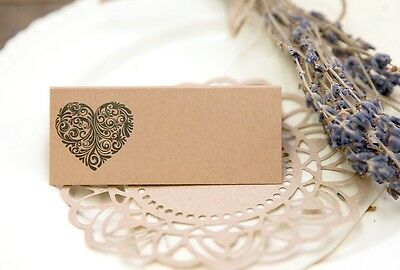 Vintage Heart Collection Wedding Place Cards (brown kraft) pack of 50