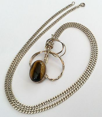 Stunning Heavy Unusual Designer Vintage Solid Silver Tigers Eye Pendant & Chain
