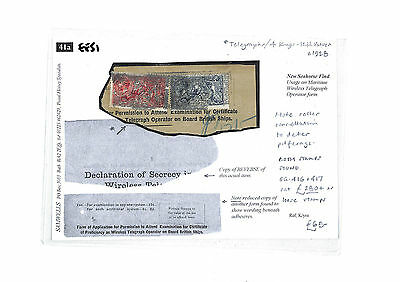 EE51 1928 GB SEAHORSE Combination Part Maritime Wireless Telegraph Operator Form