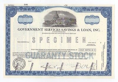 SPECIMEN - Government Services Savings & Loan, Inc. Stock Certificate
