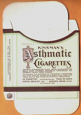 1933 Kinsman's Asthmatic Cigarettes box - new old stock