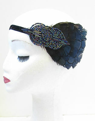 Navy Blue & Black Feather Headband 1920s Headpiece Flapper Great Gatsby Vtg V13