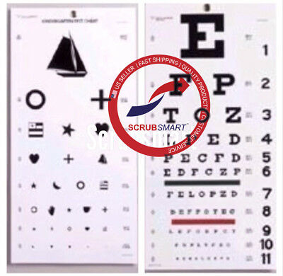 Snellen & Kindergarten / Children Eye Exam Test Wall Charts SET 2 pcs EC-WSK