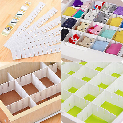 6Pcs DIY Grid Drawer Divider Household Necessities Storage Organizer Plastic New