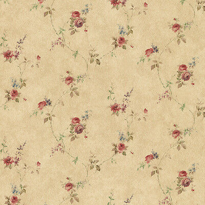 Rose Floral Trail Red Blue Brown PR33807 Wallpaper Double Roll FREE shipping