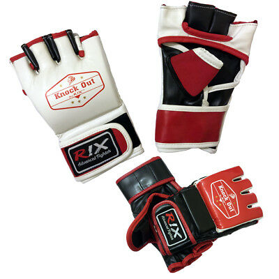 KnockOut By Rix Leather Grappling UFC Fight Kick Gym Boxing Punch Bag MMA Gloves