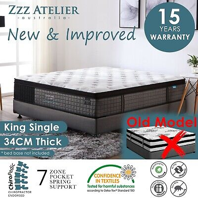 KING SINGLE Mattress 5 Zone Pocket Spring Mattres Latex Euro Top *Chiro Endorsed