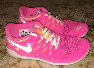 NEW Youth Girls Sz 6 NIKE Free 5.0 Pink Glow Running Shoes wmns 7.5